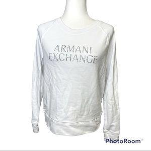 Armani Exchange White Crew Neckline Gem Logo Long Sleeve Sweater. Sz Large
